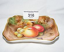 A Royal Worcester hand painted pin dish with fruit decoration - signed