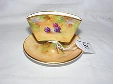 A Royal Worcester cigarette holder with hand painted fruit decoration by Al