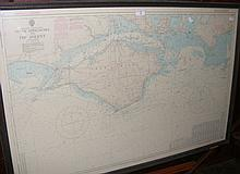 """A framed and glazed sea chart of the """"Outer Approaches To The Solent"""""""