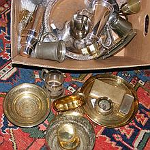A quantity of silver plated ware and brass, including cocktail shaker