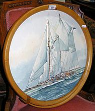 A watercolour by PEARSON of a racing yacht in The Solent in unusual round n