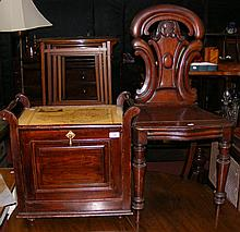 A mahogany hall chair, together with a piano stool