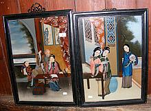 A pair of oriental paintings on glass of domestic scenes