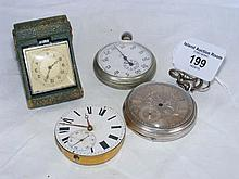 Three pocket watches, together with a travelling c