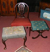 An Adams style side chair, together with two stool