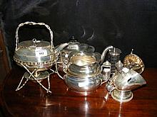 Selection of silver plated ware including spirit k
