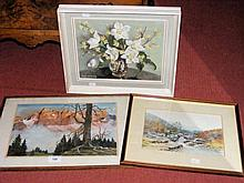 Two watercolours, together with an oil