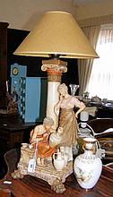 Royal Dux table lamp, together with a Crown Derby