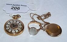 Lady's pocket watch, pendant and chain and ring