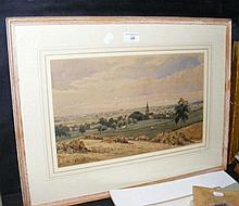 Watercolour of rural country scene with steeple in