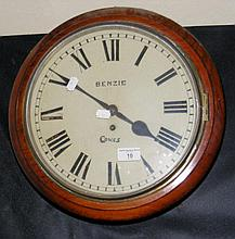 Benzie of Cowes 19th century wall clock with fusee