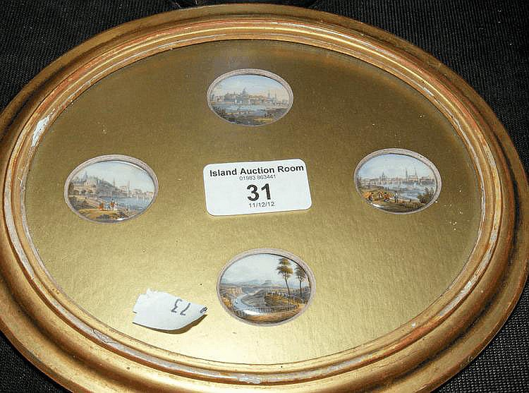 Four miniature oval painted porcelain panels -