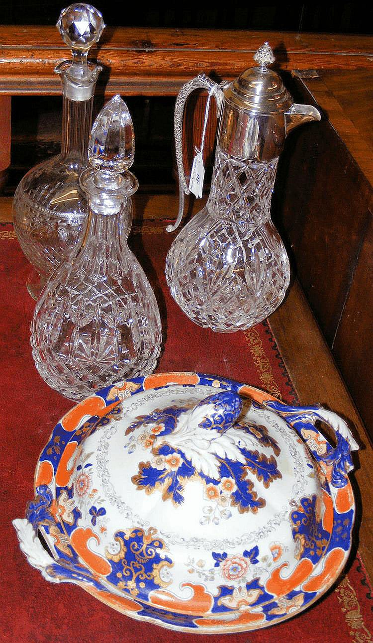 An Ironstone tureen and cover, together with two