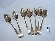 Seven silver Georgian teaspoons