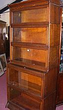 Globe Wernicke style five section oak bookcase