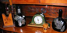 Oriental mantel clock, together with other collectables