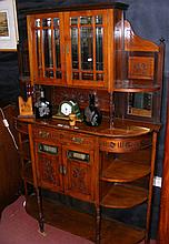An Edwardian sideboard with display cupboard to the top, drawers and cupboa