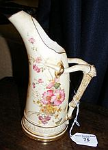 A Royal Worcester blush ivory vase with floral decoration