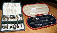 Silver knife, fork and spoon set in presentation case, together with coffee
