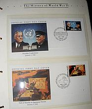 "Three albums containing collectable First Day Covers, including ""The Histor"