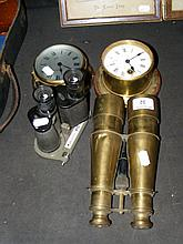 An interesting pair of old brass binoculars,