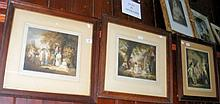 A set of three antique coloured prints of children