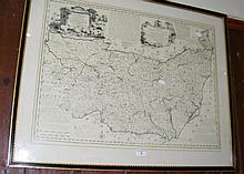 A map of Suffolk in ebony frame