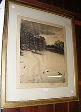 19th century etching - signed in pencil by the