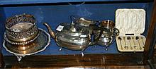 Selection of plated ware, including teaset,