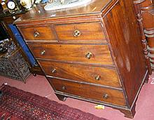 A 19th century mahogany chest of two short and