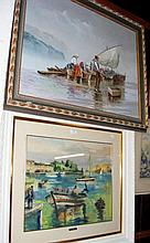 An oil on canvas of continental fishing scene,