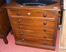 A 64cm mahogany collector's chest of five long