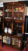 An oak three tier Globe Wernicke style bookcase
