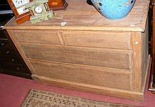 A 107cm stripped pine chest of two short and two
