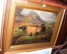 19th century oil on canvas - Highland Cattle scene