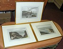 Three WILLIAM DANIELL engravings of Island scenes, including West Cowes and The Needles - framed and glazed