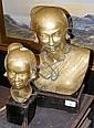Two cast brass busts of Burmese women on wooden