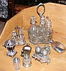 Various old cruets, hip flask etc.