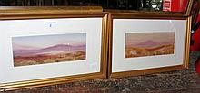 F STAFFORD - a pair of 9cm x 23cm gouaches -