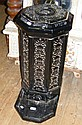 A cast iron and enamel stove