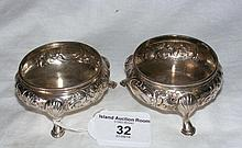 A pair of Victorian embossed silver salts by W.R.
