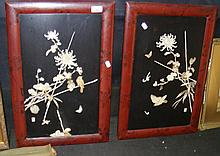 A pair of oriental ivory plaques - birds and