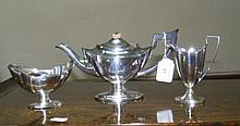 An antique silver plated Bachelor's teaset