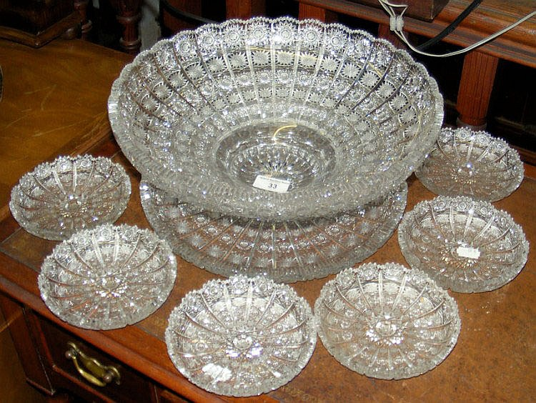 A Bohemian cut crystal fruit bowl and stand with