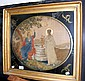 An antique oval embroidery picture in gilt frame