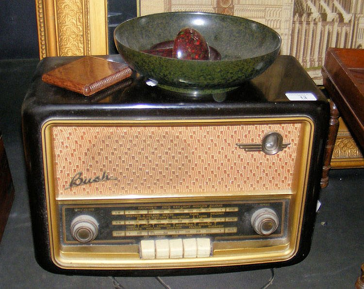 A Bakelite cased Bush valve radio and four other
