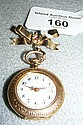 A 14K continental gold and enamel fob watch,