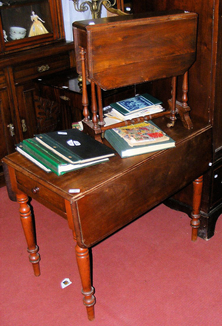 A Victorian mahogany Pembroke table and a small