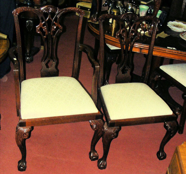 A set of six antique style dining chairs with