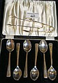 A set of six silver teaspoons and two pairs of